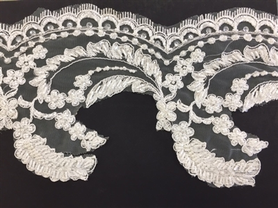 LNS-BBE-220-OFFWHITE.  Fully Beaded Bridal Lace - Off White - 7 Inch Wide