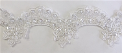 LNS-BBE-221-OFFWHITE.  Fully Beaded Bridal Lace - Off White - 3.5 Inch Wide