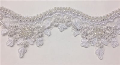 LNS-BBE-223-WHITE. Bridal Lace with Exquisite Embroideries and Silver Pearls - White - 4 Inch Wide