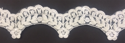 LNS-BBE-224-OFFWHITE. Off-White Bridal Lace with Exquisite Embroideries and Silver Pearls - White - 2 Inch Wide
