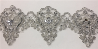 LNS-BBE-226-SILVER. Bridal Lace with Exquisite Embroideries, Silver Pearls, Silver Metallic Bordering - Silver - 5 Inch Wide