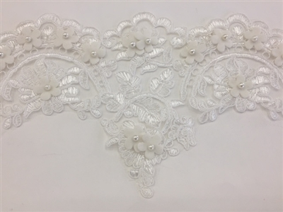 LNS-BBE-227-WHITE. Bridal Lace with Exquisite Embroideries and White Pearls - White - 5.75 Inch Wide