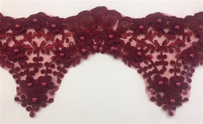 LNS-BBE-228-BURGUNDY. Burgundy Bridal Lace with Exquisite Embroideries, Burgundy Pearls and Raised Flowers - 5 Inch Wide