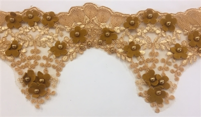 LNS-BBE-228-CAMEL. Camel Bridal Lace with Exquisite Embroideries, Gold Pearls, and Raised Mustard Flowers - 5 Inch Wide