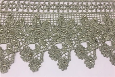 LNS-BBE-232-OLIVE. Olive Bridal Lace with Shiny Crystals - Sold By the Yard - 4.75 Inch Wide