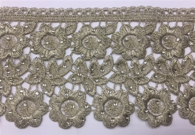 LNS-BBE-233-GOLD. Gold Bridal Lace with Shiny Crystals - Sold By the Yard - 3.5 Inch Wide