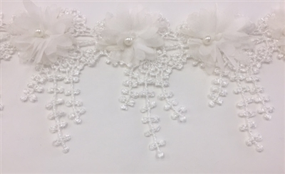 LNS-BBE-239-WHITE.  White Bridal Lace with White Pearls on Raised Flowers - Sold By the Yard - 3.5 Inch Wide