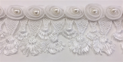 LNS-BBE-240-WHITE.  White Bridal Lace with White Pearls on Raised Flowers - Sold By the Yard -  2 Inch Wide