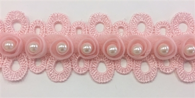 LNS-BBE-241-PINK.  Pink Bridal Lace with White Pearls on Raised Flowers - Sold By the Yard - 1.5 Inch Wide
