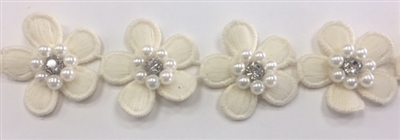 LNS-BBE-243-BEIGE.   Beige Floral Bridal Trim with White Pearls and Crystal Rhinestone in the Center of Flower - Sold By the Yard - 1.25 Inch Wide