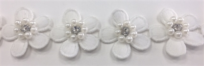 LNS-BBE-243-WHITE.  White Floral Bridal Trim with White Pearls and Crystal Rhinestone in the Center of Flower - Sold By the Yard - 1.25 Inch Wide