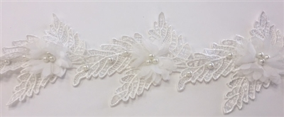 LNS-BBE-244-WHITE.  White Floral and Leaves Bridal Trim with White Pearls in the Center of Flower - Sold By the Yard - 3.5 Inch Wide