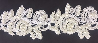 LNS-BBE-246-OFFWHITE.  White Bridal Lace with Off-White Pearls - Sold By the Yard - 2 Inch Wide