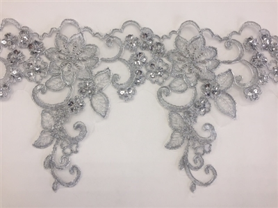 LNS-BBE-247-SILVER. Silver Embroidery Bridal Lace with with Silver Beads and Sequins - Sold By the Yard - 8.5 Inch Wide