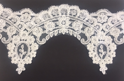 LNS-BBE-251-OFFWHITE. Off-White Embroidery Beaded Bridal Lace - Sold By the Yard - 5 Inch Wide