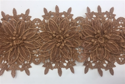 LNS-BBE-252-BRONZE. Bronze Bridal Lace with Multi-Layer Raised Flowers - 5 Inch Wide