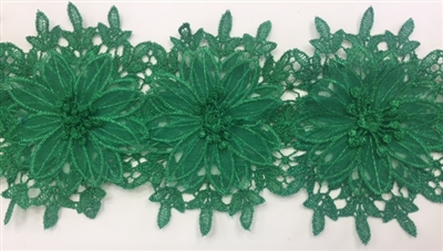 LNS-BBE-252-GREEN. Green Bridal Lace with Multi-Layer Raised Flowers - 5 Inch Wide