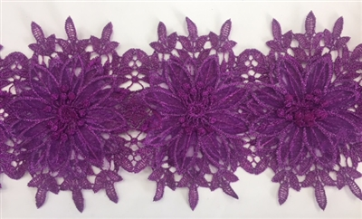 LNS-BBE-252-PURPLE. Purple Bridal Lace with Multi-Layer Raised Flowers - 5 Inch Wide