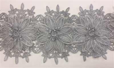 LNS-BBE-252-SILVER. Silver Bridal Lace with Multi-Layer Raised Flowers - 5 Inch Wide