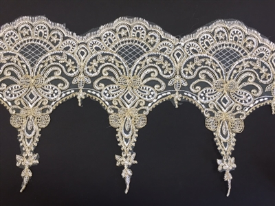 LNS-BBE-254-IVORYGOLD. Ivory/Gold Bridal Lace - 10.5 Inch Wide