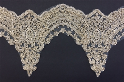 LNS-BBE-255-GOLD.  Gold Bridal Lace - 5.5 Inch Wide