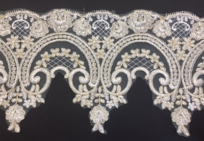 LNS-BBE-257-IVORYGOLD.  Gold Bridal Lace - 8.5 Inch Wide