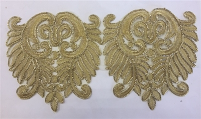 LNS-BBE-258-GOLD.  Gold Bridal Lace - 6.5 Inch Wide - Sold By the Yard