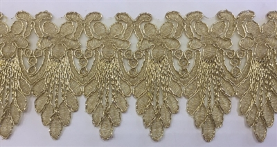 LNS-BBE-259-GOLD.  Gold Bridal Lace - 3.5 Inch Wide - Sold By the Yard