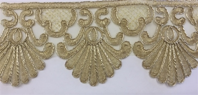 LNS-BBE-261-GOLD.  Gold Bridal Lace - 3.5 Inch Wide - Sold By the Yard
