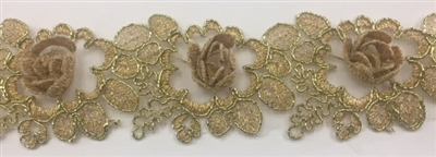 LNS-BBE-263-GOLD.  Gold Bridal Lace with 3-Dimensional Rosettes - 2 Inch Wide - Sold By the Yard