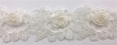 LNS-BBE-263-OFFWHITE.  Off White Bridal Lace with 3-Dimensional Rosettes - 2 Inch Wide - Sold By the Yard