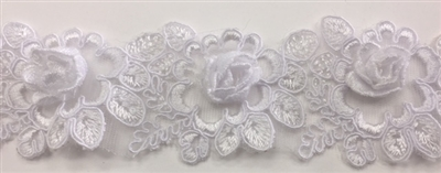 LNS-BBE-263-WHITE.  White Bridal Lace with 3-Dimensional Rosettes - 2 Inch Wide - Sold By the Yard