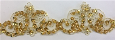LNS-BBE-264-GOLD. Moda Trims Gold Bridal Lace with Beads and Sequins - 2 Inch Wide - Sold By the Yard