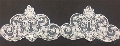 LNS-BBE-264-WHITE. Moda Trims White Bridal Lace with Beads and Sequins - 2 Inch Wide - Sold By the Yard