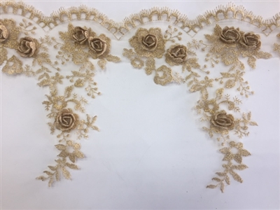 LNS-BBE-265-GOLD.  Gold Bridal Lace with 3-Dimensional Rosettes - 9 Inch Wide - Sold By the Yard