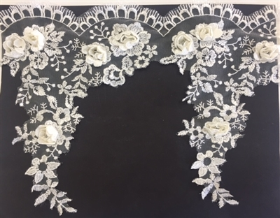 LNS-BBE-265-OFFWHITE.  Off White Bridal Lace with 3-Dimensional Rosettes - 9 Inch Wide - Sold By the Yard