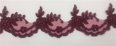 LNS-BBE-268-WINE. Wine Embroidered Bridal Lace with Beads and Sequins - 3 Inch Wide - Sold By the Yard