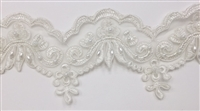 "LNS-BBE-305-OFFWHITE. EMBROIDERED BRIDAL BEADED LACE WITH PEARLS - 3"" - OFFWHITE"