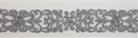 "LNS-BBE-306-SILVER. EMBROIDERED BRIDAL BEADED LACE - 2"" - SILVER"