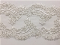 "LNS-BBE-308-WHITE. EMBROIDERED BRIDAL BEADED LACE - 5"" - WHITE"