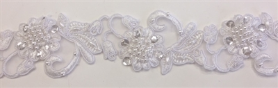 "LNS-BBE-310-WHITE. EMBROIDERED BRIDAL BEADED LACE WITH BEADS - 2"" - WHITE"