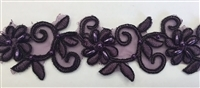 "LNS-BBE-311-EGGPLANT. EMBROIDERED BRIDAL BEADED LACE WITH BEADS - 1.5"" - EGGPLANT"