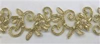 "LNS-BBE-311-LITEGOLD. EMBROIDERED BRIDAL BEADED LACE WITH BEADS - 1.5"" - LITEGOLD"