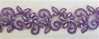 "LNS-BBE-311-PURPLE. EMBROIDERED BRIDAL BEADED LACE WITH PURPLE BEADS - 1.5"" - PURPLE"