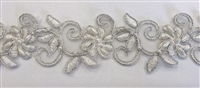 "LNS-BBE-311-SILVER. EMBROIDERED BRIDAL BEADED LACE WITH SILVER BEADS - 1.5"" - WHITE"