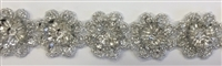 "LNS-BBE-321-SILVER. BRIDAL BEADED LACE WITH SILVER BEADS & SEQUINS - 1-1/8 "" WIDE"