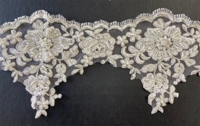 LNS-BBE-322-IVORYSILVER.  Embroidered Metallic Ivory and Silver Trim with Beads and Sequins - Price Per Yard