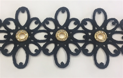 LNS-VEN-146-BLACK.  Venice Lace with Crystals in a Metallic Gold Ring - Black - 2.5 Inches Wide