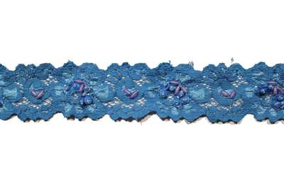 LST-BED-107-BLUE.  Beaded Stretch Lace