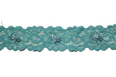 LST-BED-107-LIGHTBLUE.  Beaded Stretch Lace
